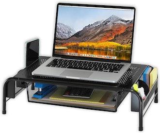 SimpleHouseware Computer Riser with Organizer Drawer