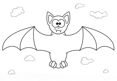Bat coloring page; bat with wings stretched out, crossed eyes, floating in the sky