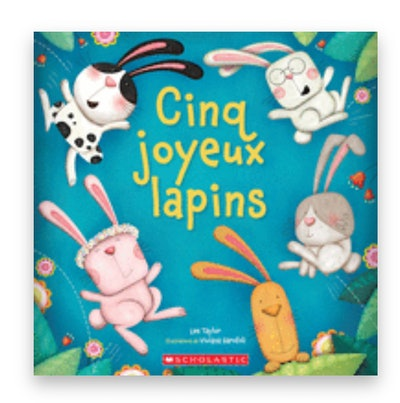 """Cover art for """"Cinq Joyeux Lapins""""; five bunnies jumping in a circle"""