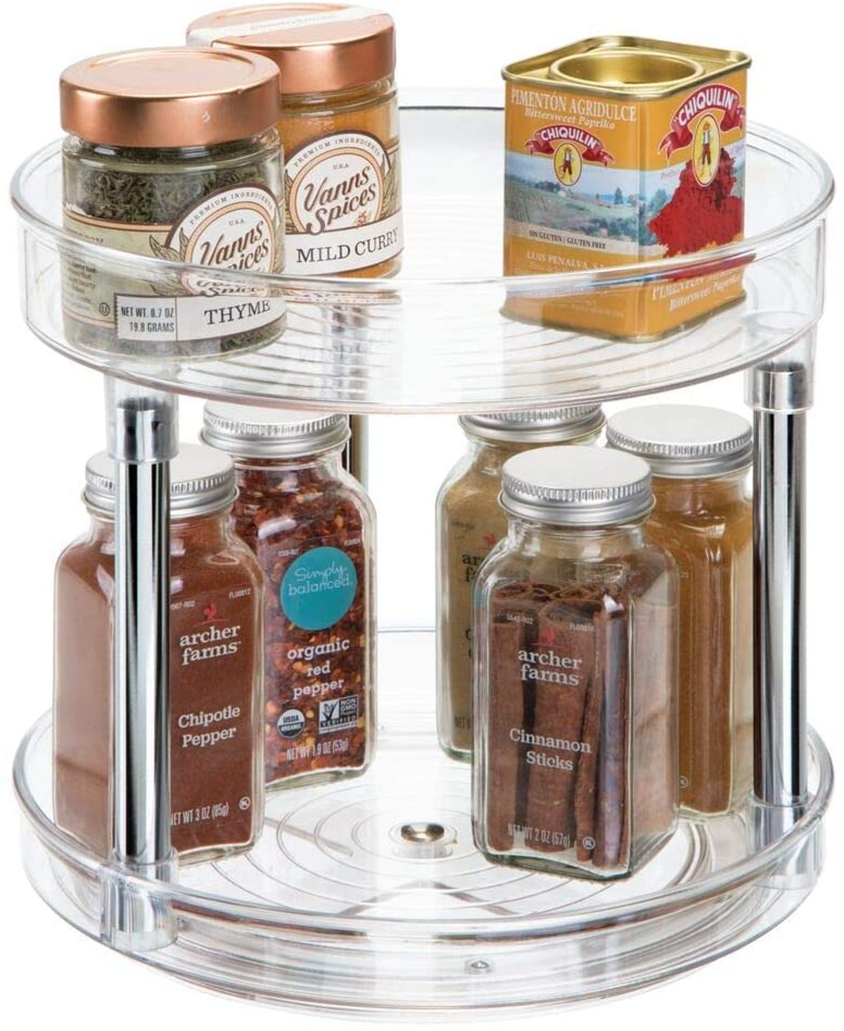 2 Tier Lazy Susan Turntable Food Storage Container