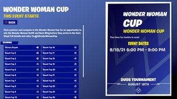 fortnite wonder woman cup start time