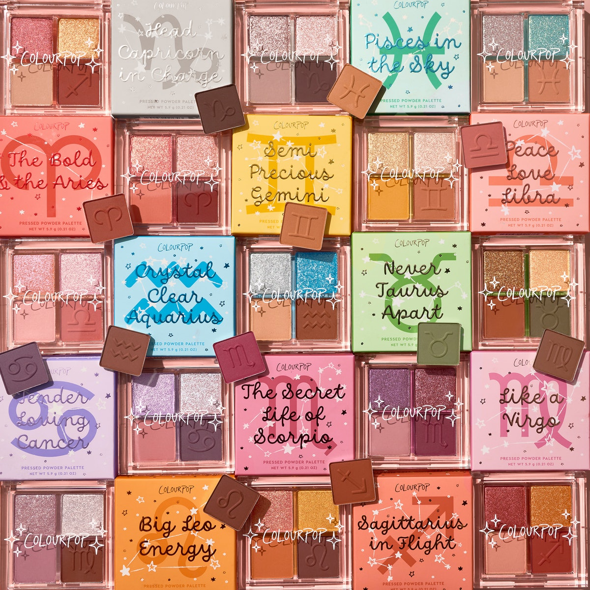 All of the eyeshadow palettes featured in ColourPop's Astrology Collection.