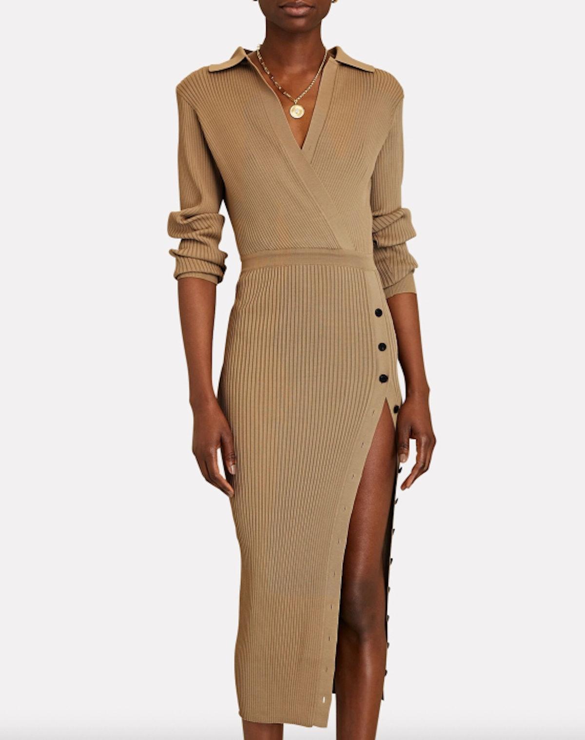 Rib Knit Polo Dress