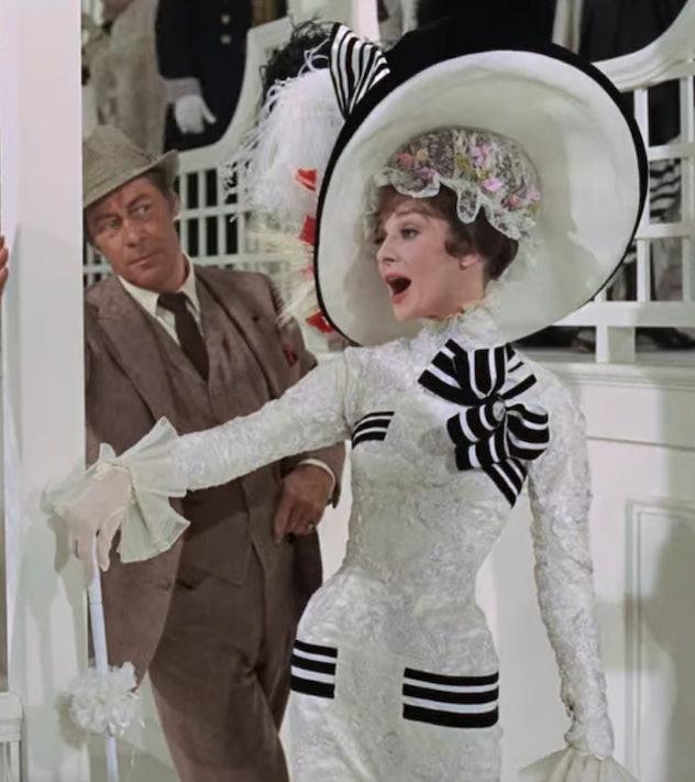 Rex Harrison and Audrey Hepburn as Henry Higgins and Eliza Doolittle.