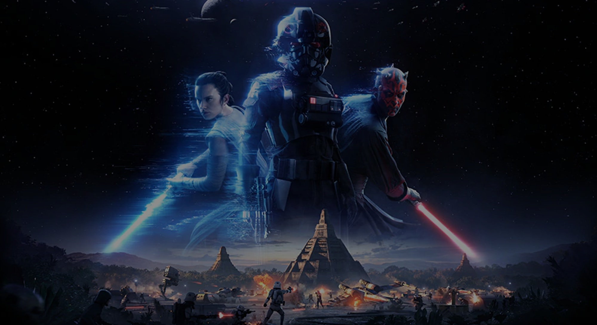 art of Rey and Darth Maul from Star Wars Battlefront 2