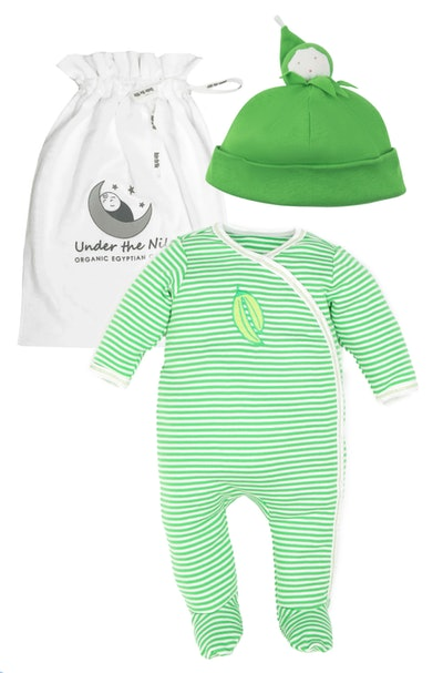 Image of a green-and-white striped baby onesie pajama with matching pea-pod hat.