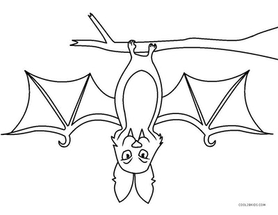 Bat coloring page; bat hanging upside down from tree branch