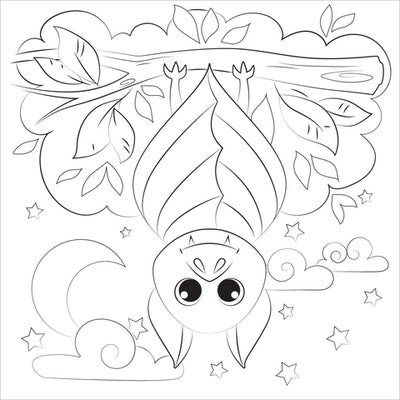 Bat coloring page; bat hanging upside down with its wings wrapped around it