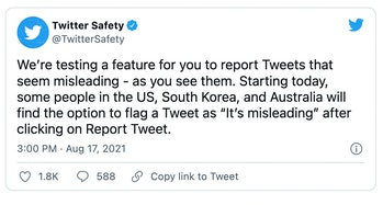 Twitter will allow users to report tweets for containing misinformation, such as false comments abou...