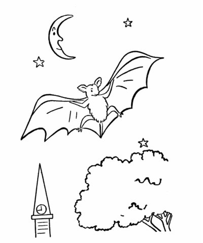 Bat coloring page; bat flying in the night with the moon behind it