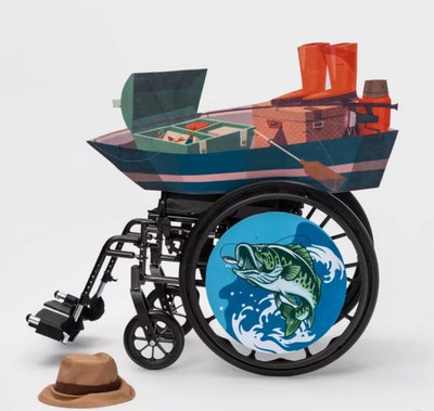 Kids' Adaptive Fishing Boat Halloween Costume Wheelchair Cover with Hat