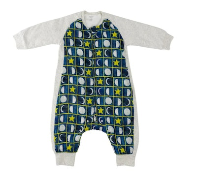 Image of an infant sleep suit with Eric Carle Moonstars design.