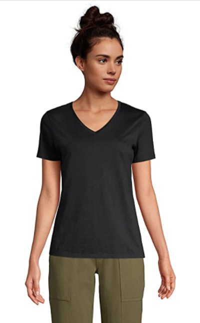 Lands' End Relaxed Supima Cotton V-Neck T-Shirt