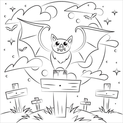 Bat coloring page; bat with its wings out, perched on a sign in front of a full moon