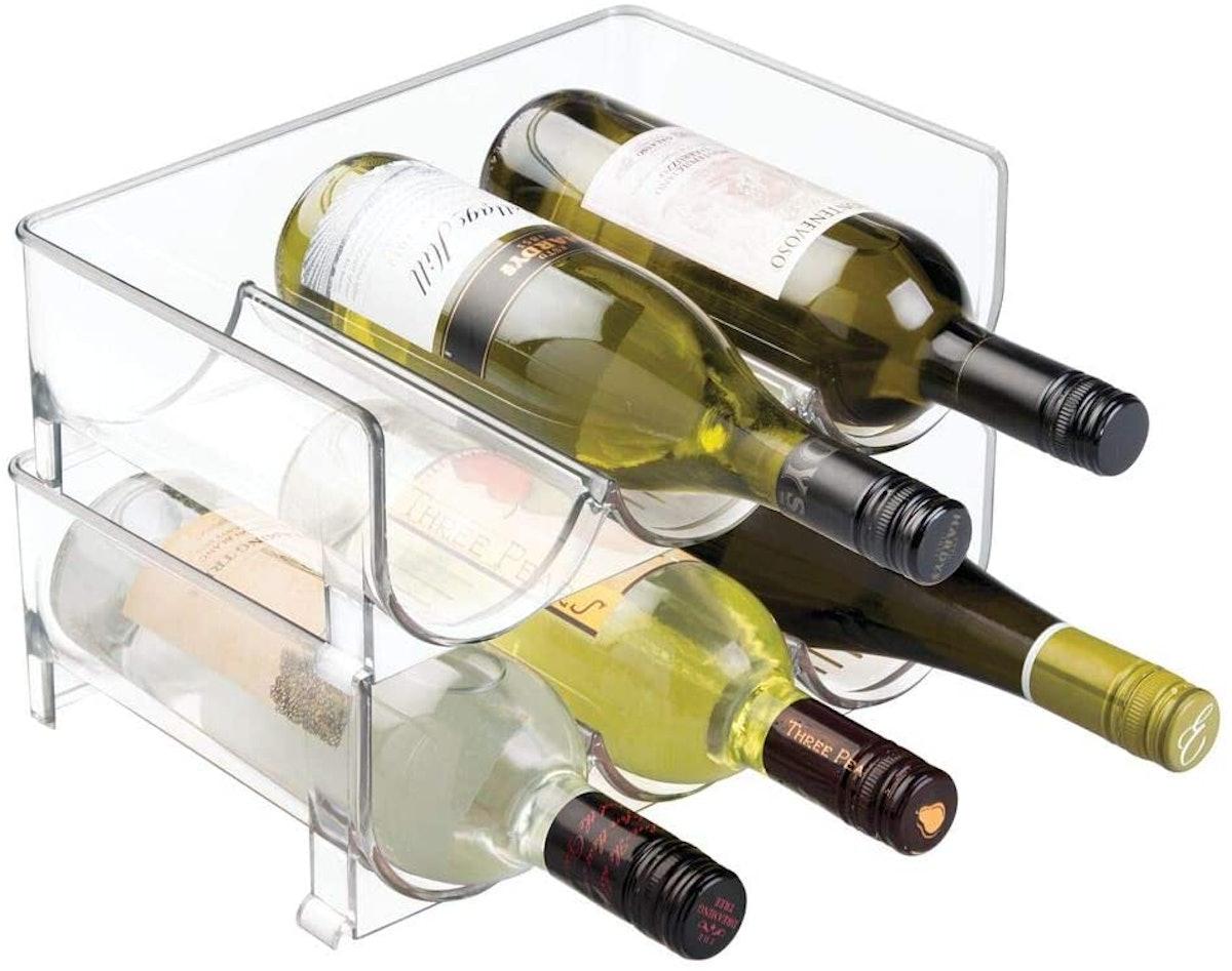 Modern Plastic Stackable Vertical Standing Wine Bottle Holder Stand