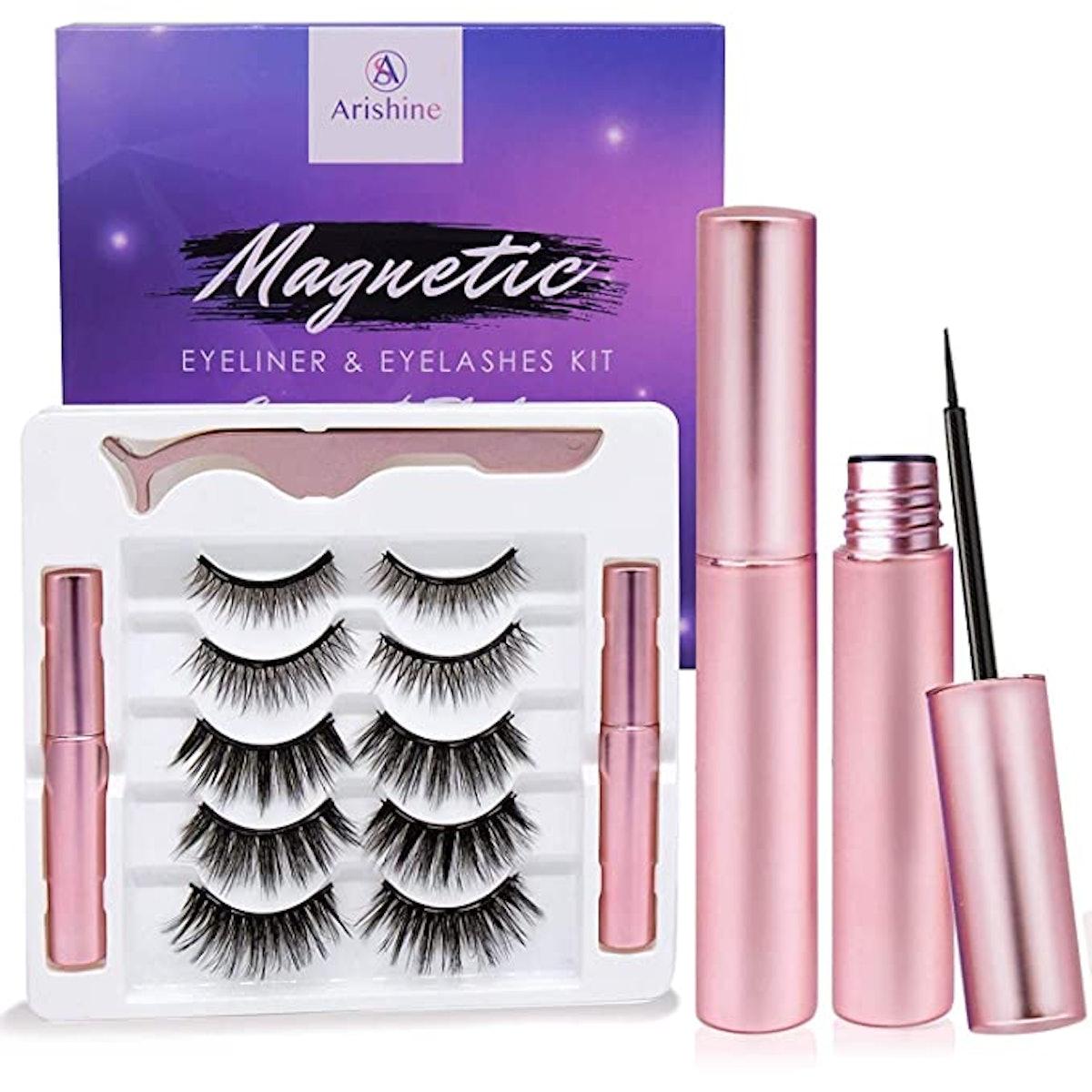 Arishine Magnetic Eyeliner and Lashes Kit (5-Pairs)