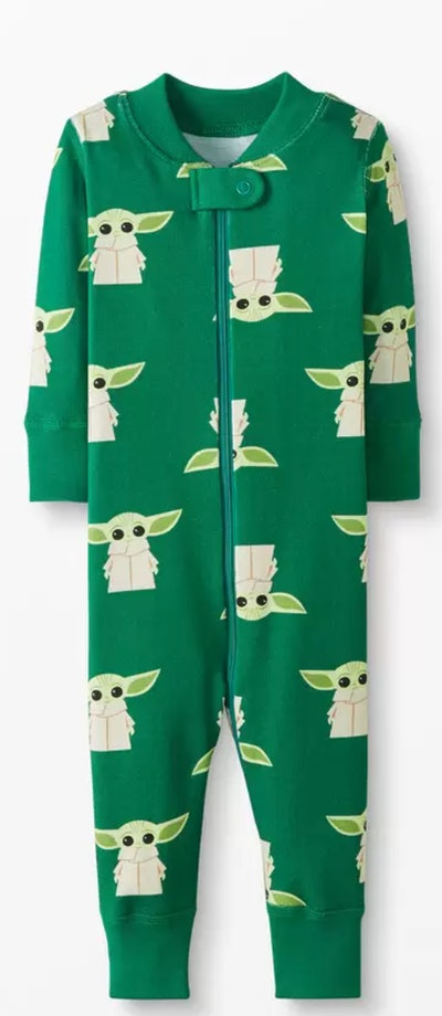 Image of a Hanna Andersson zip-front toddler one-piece pajama with Yoda print.