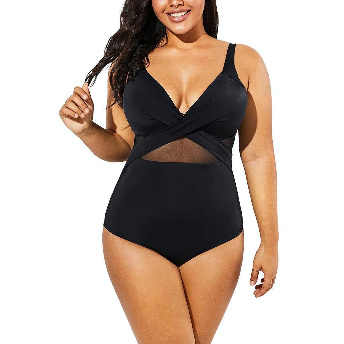 Meet.Curve Plus Size Cut Out Underwire One Piece Swimsuit