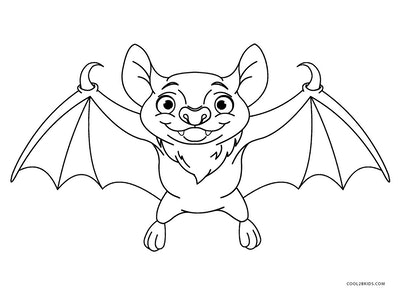 Bat coloring page; bat with its wings out, smiling