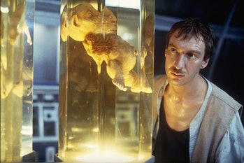 David Thewlis and pickled mutant baby in The Island of Dr. Moreau.