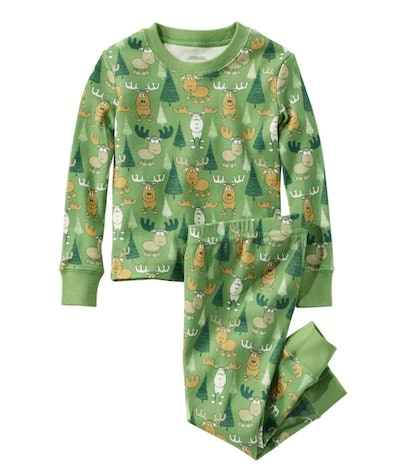 Image of L.L.Bean two-piece cotton pajamas in a green tree print.