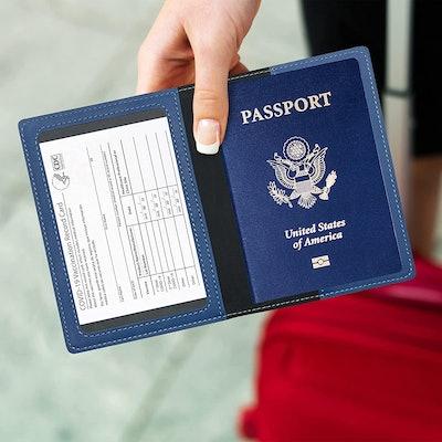 Ciana Leather Passport & Vaccine Card Holder