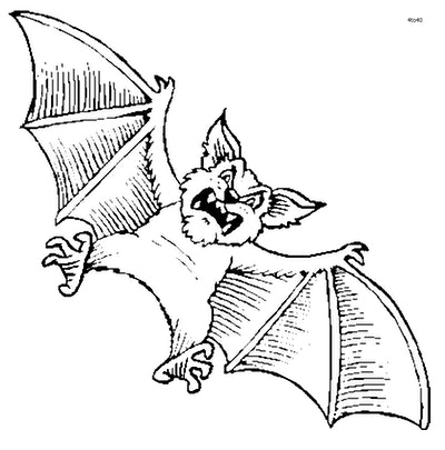 Bat coloring page; bat with scary face, flying in the air