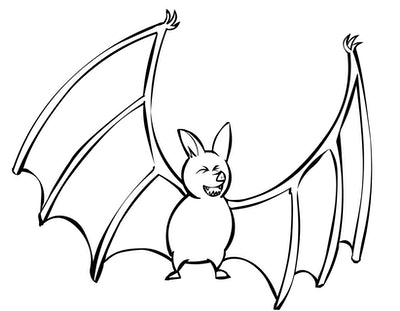 Bat Coloring Page; bat with its wings stretched out, laughing