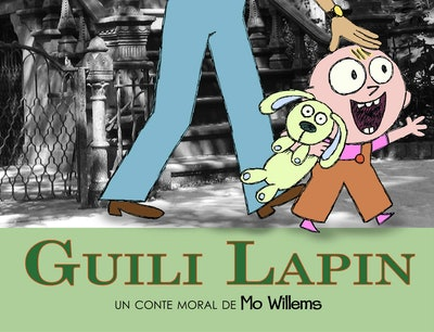 """Cover art for """"Guili Lapin""""; little boy holding a stuffed animal, walking with a grown up"""