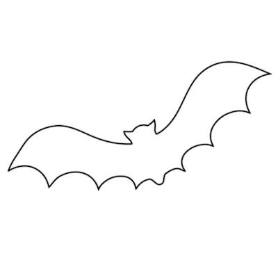 Bat coloring page; outline of a bat