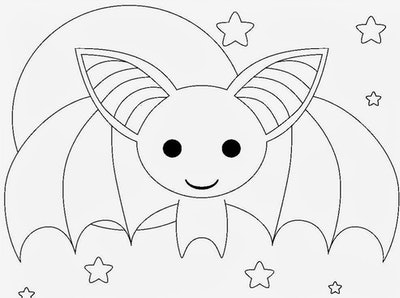 Bat coloring page; cute bat with wings stretched out with a full moon and stars behind it