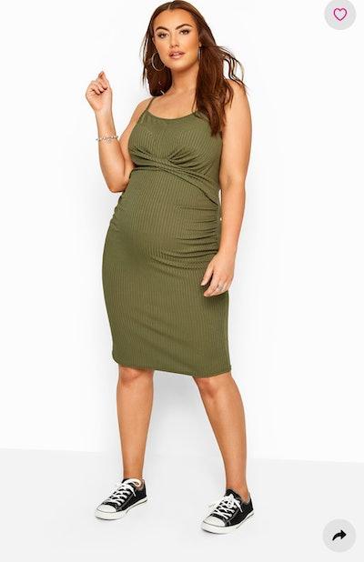 BUMP IT UP MATERNITY Khaki Green Ribbed Twist Bodycon Midi Dress
