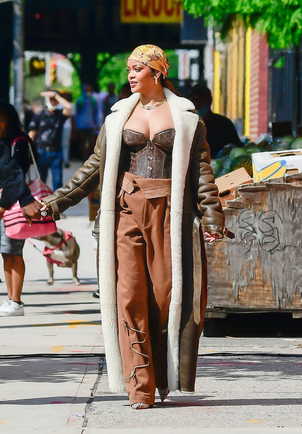 Rihanna is seen filming a music video in the Bronx on July 10, 2021 in New York City.