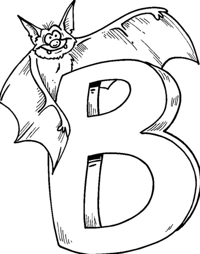 """Bat Coloring Page; the letter """"B"""" with a bat next to it"""