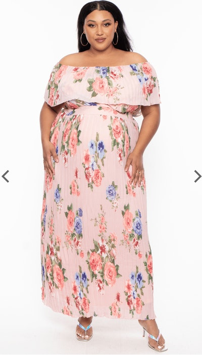 Maternity Daisy Off The Shoulder Maxi Dress - Pink