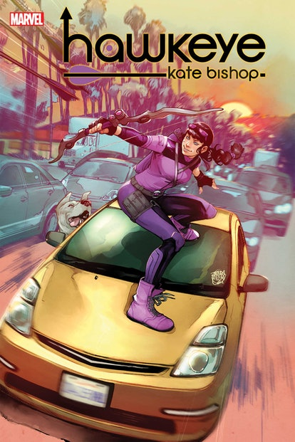 The cover of Hawkeye: Kate Bishop, written by Marieke Nijkamp, illustrated by Enid Balám, with cover...