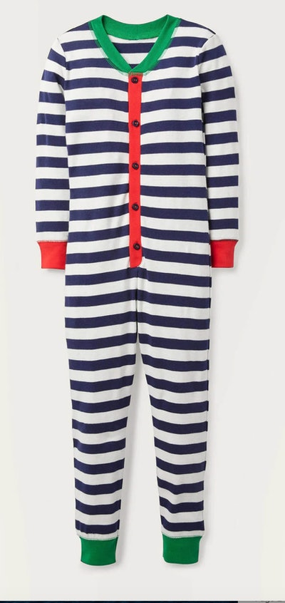 Image of a kid's striped one-piece zip-front pajama from Boden USA.