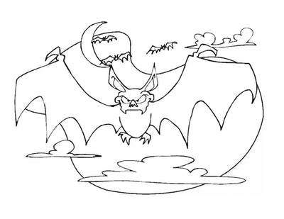 Bat coloring page; bat with creepy face, flying with a full moon in the background