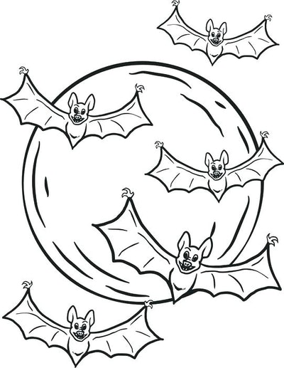 Bat coloring page; five bats flying in front of a full moon.
