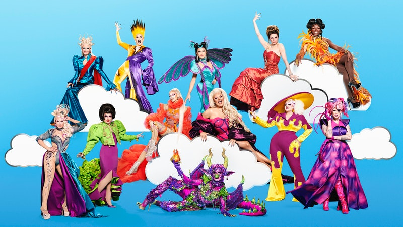 The queens of RuPauls drag race season 3 pose in their brightly-coloured finery against a sky blue b...