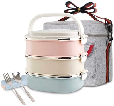 Unichart Stainless Steel Square Lunch Box Kit