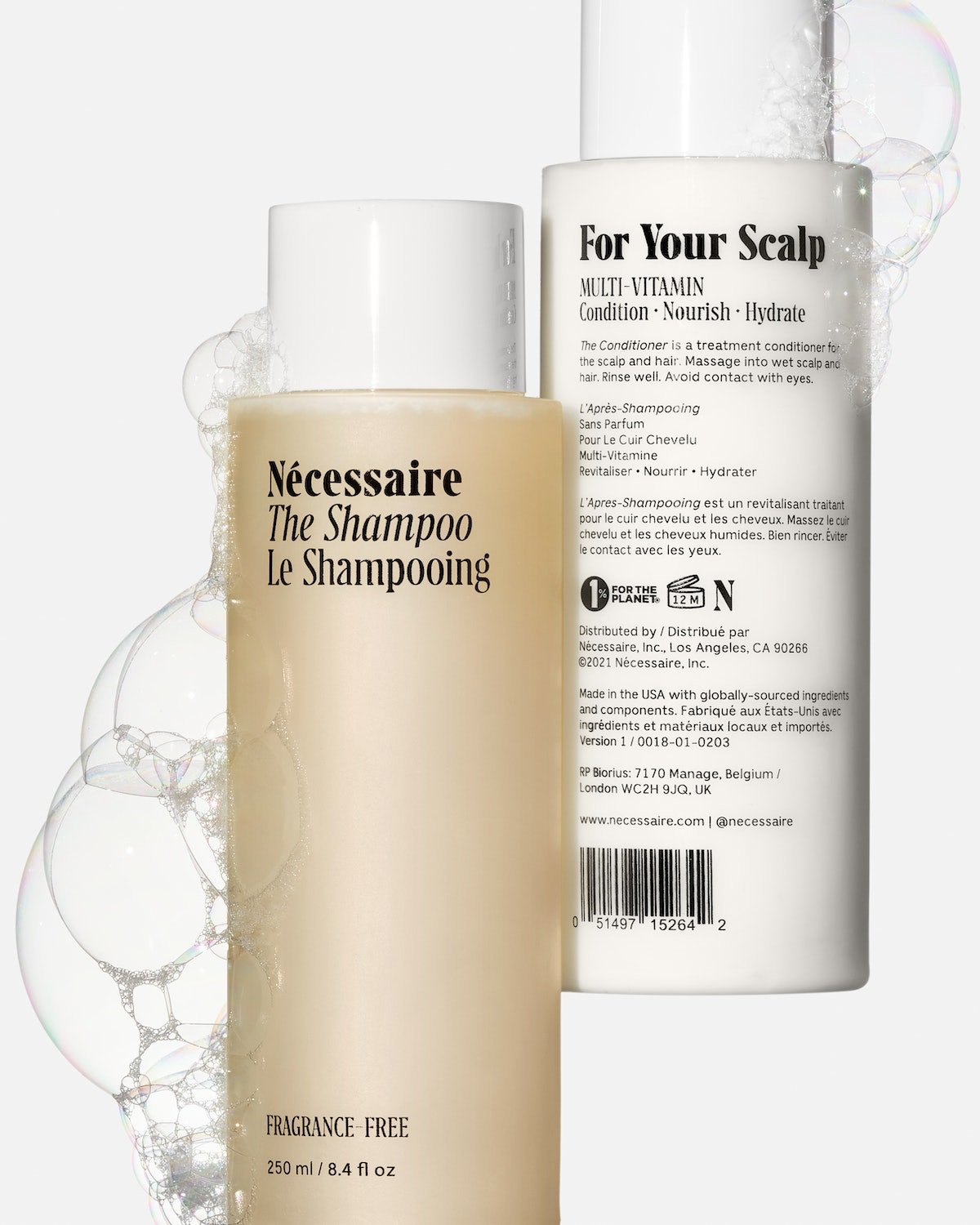 Necessaire's new hair care products, The Shampoo and The Conditioner
