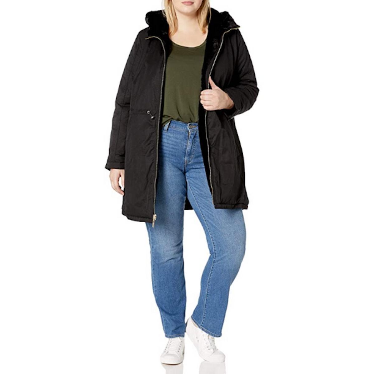 Rachel Roy Reversible Cotton to Fur Jacket