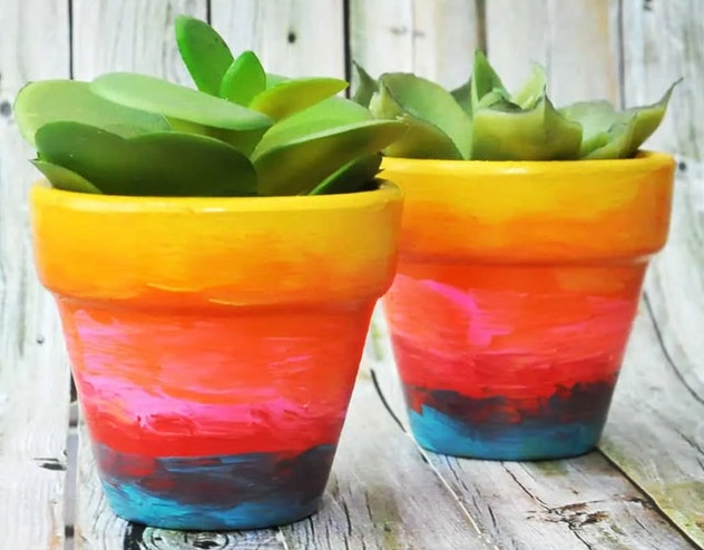 Image from the website diycandy.com of two succulents in flower pots; the pots are painted in rainbo...
