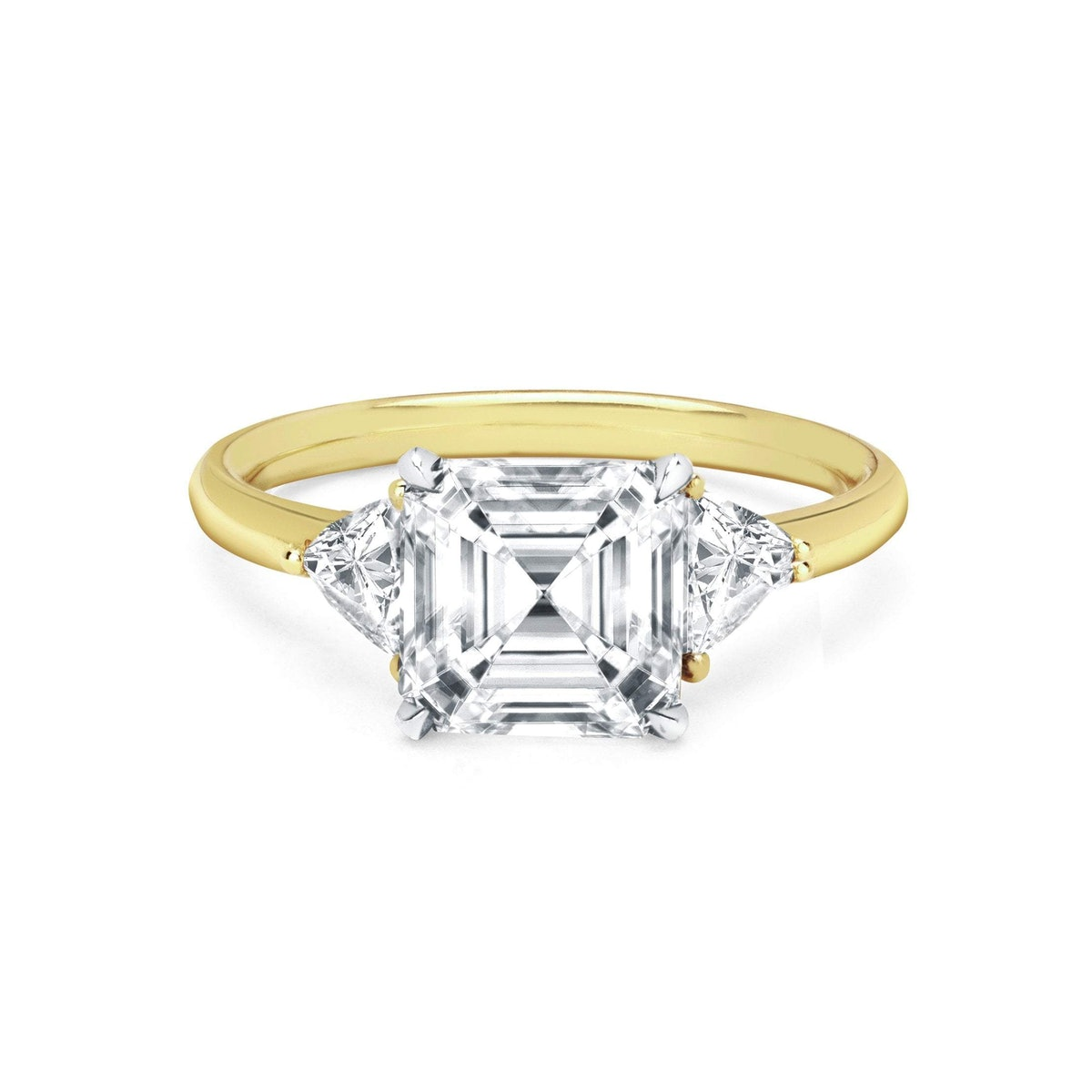 Asscher Cut Diamond Setting with Side Trillion Diamonds engagement ring from Logan Hollowell