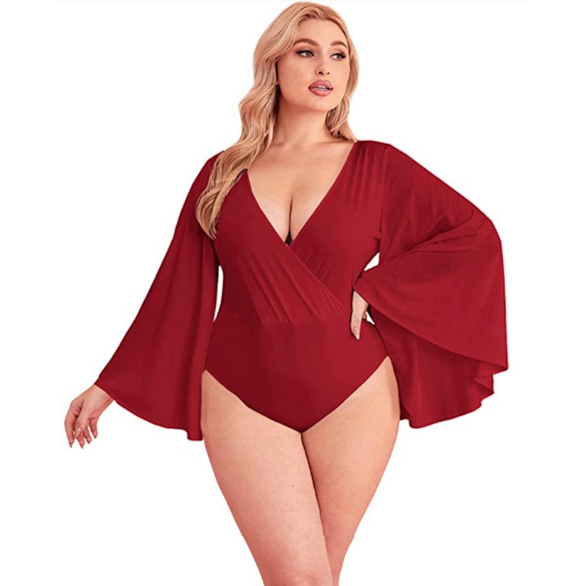 SheIn Plus Size Bell Sleeve Bodysuit