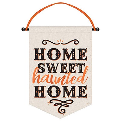 Halloween 'Home Sweet Haunted Home' Deluxe Canvas Hanging Sign (1ct)
