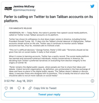 Parler's CEO has called on Twitter to ban the Taliban from its platform.