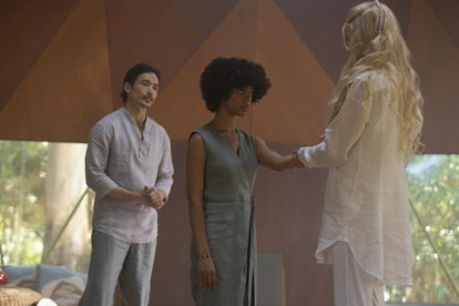 Masha, Delilah, and Yao talk in 'Nine Perfect Strangers.'