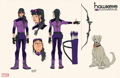 Sketches of Kate Bishop's Hawkeye costume